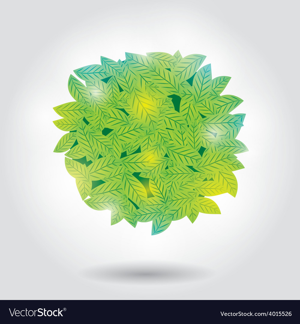 Summer bubble for speech with green leaves on vector