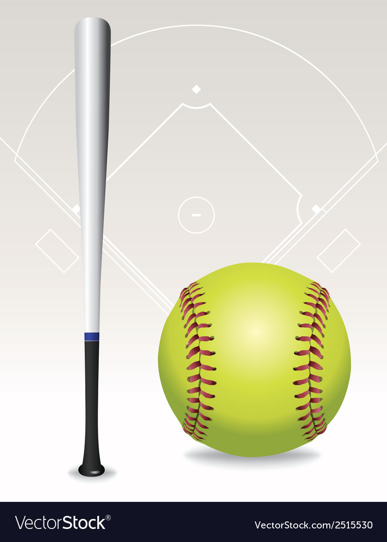 Softball and bat vector