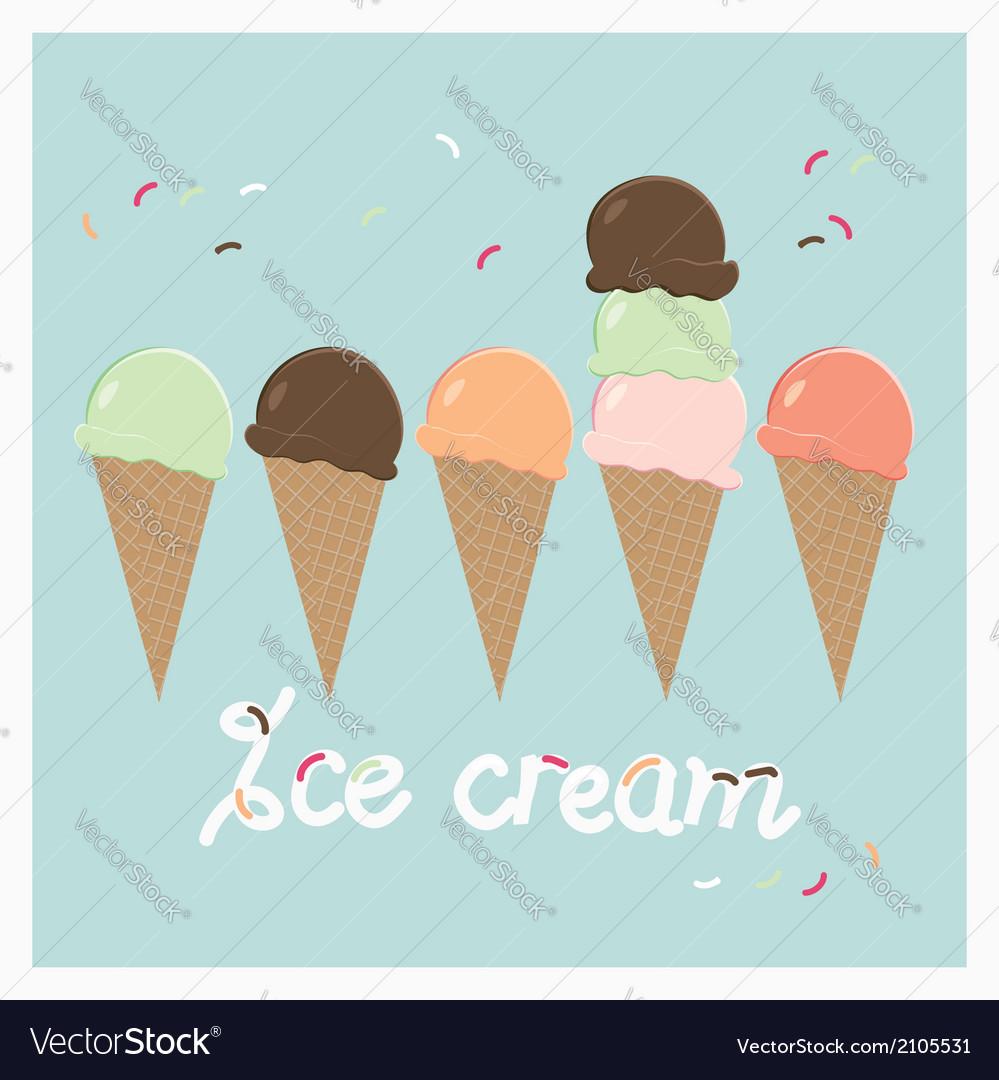 Row of summer ice cream cones vector