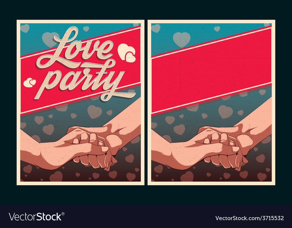 Set of love party posters vector