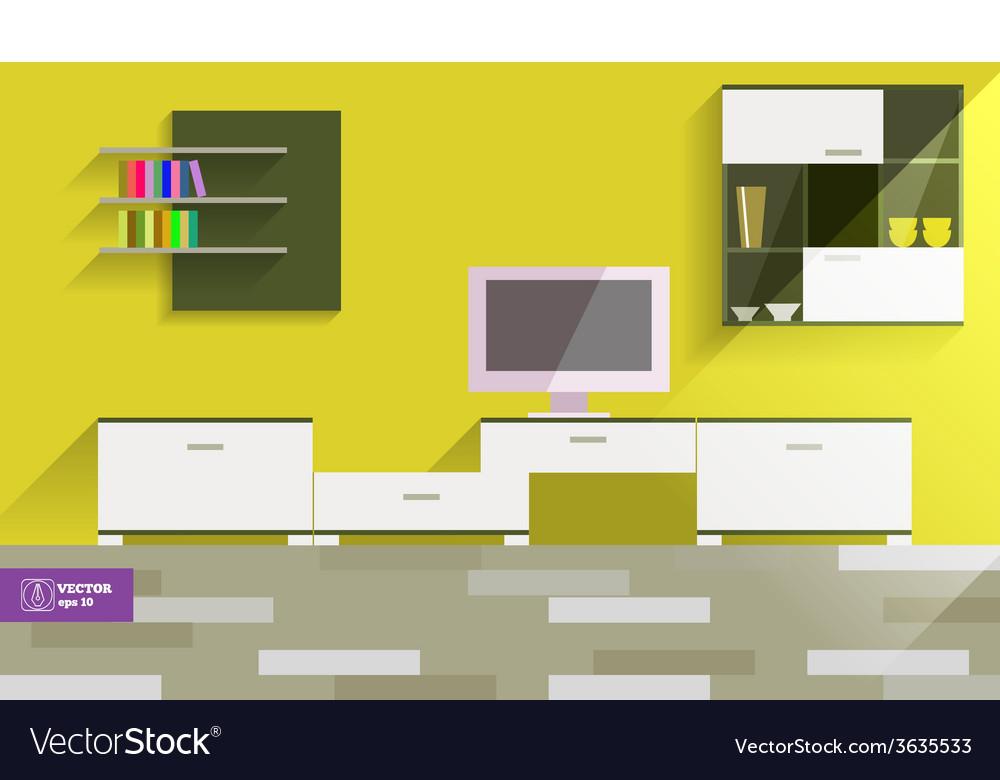 Abstract flat interior desing vector