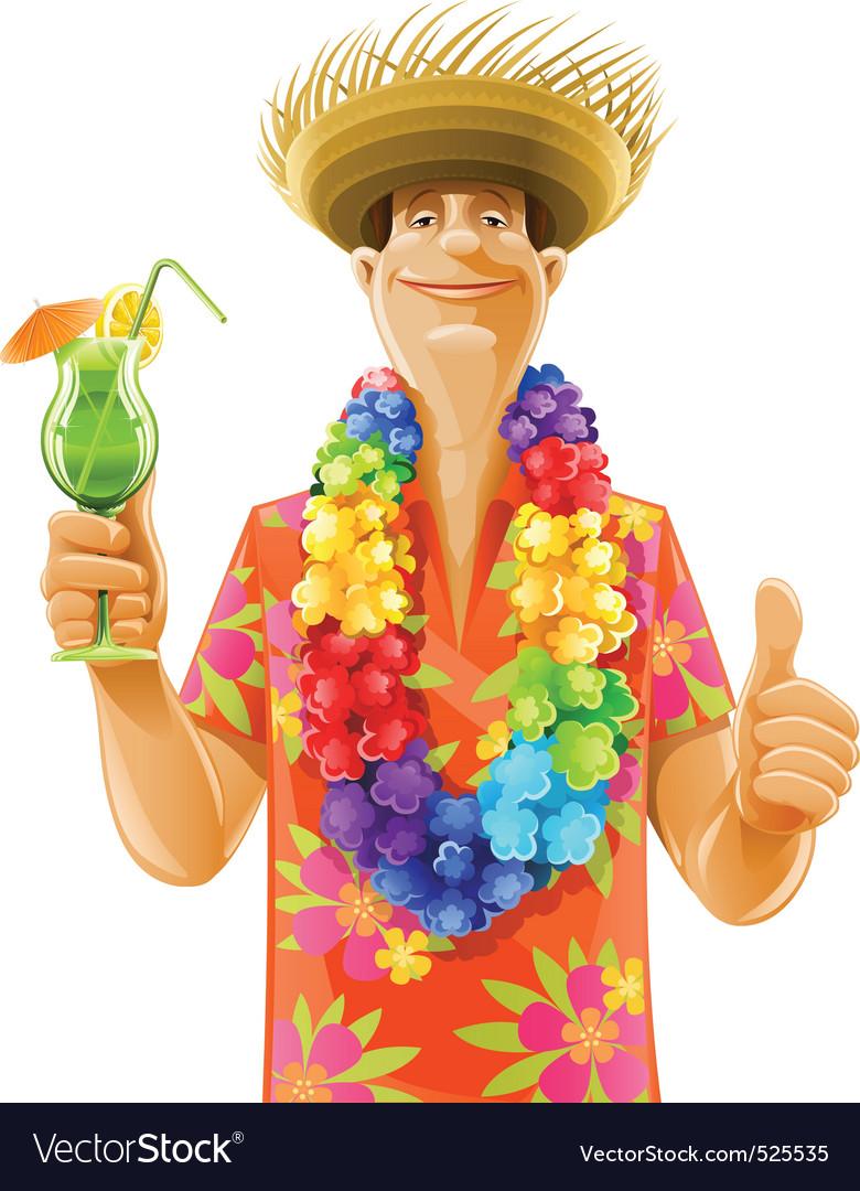 Man cocktail hawaii wreath hat vector