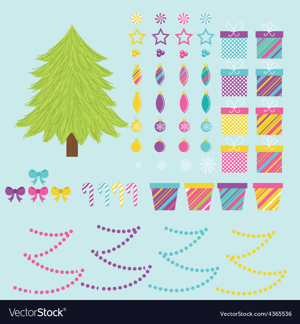 Build your own christmas tree vector