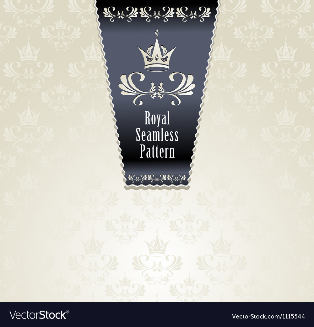 Royal seamless pattern with crown vector