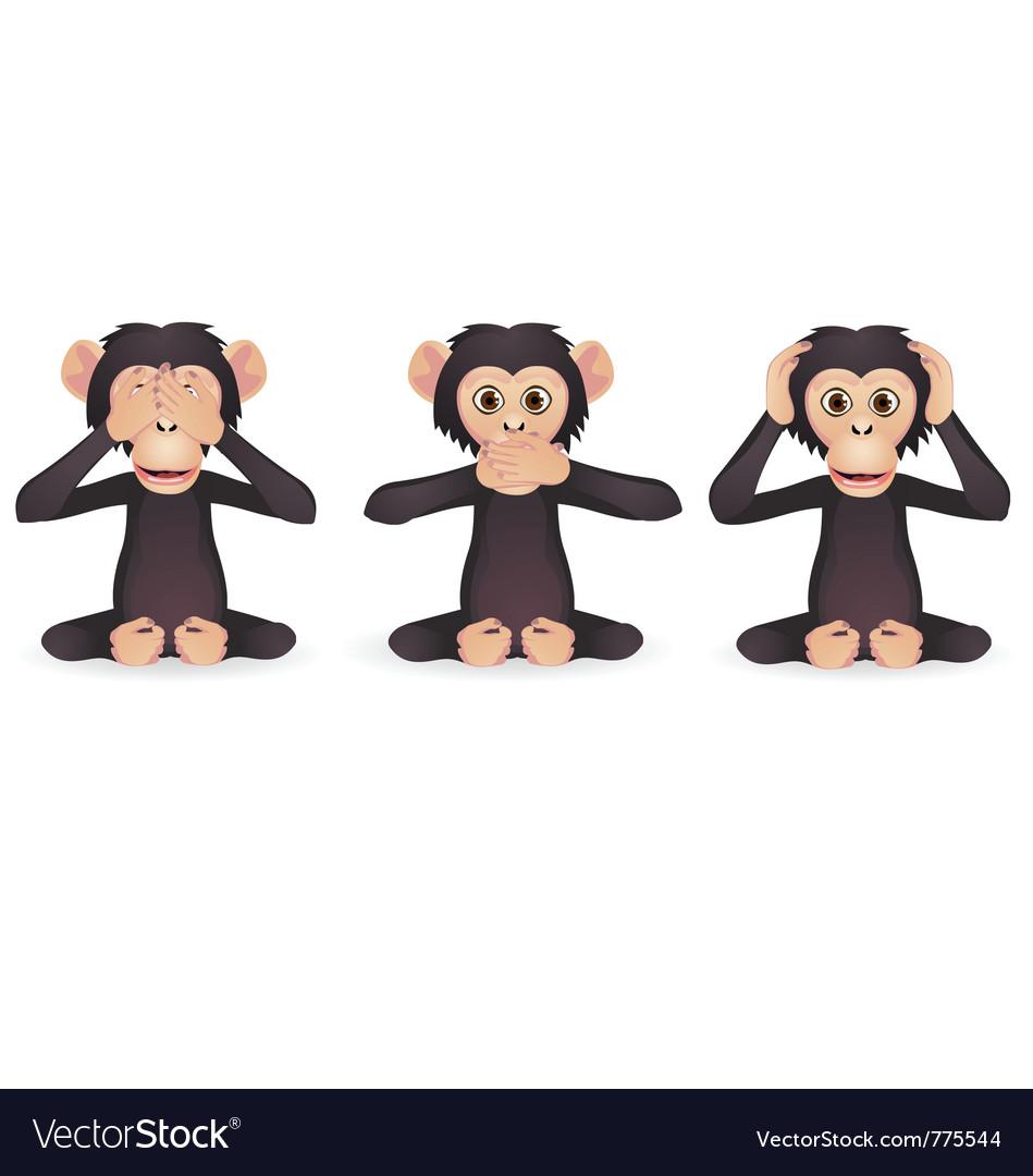Three wise monkey vector