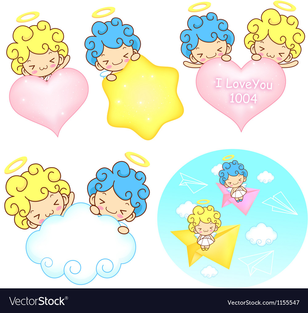 The fun a star and fleecy clouds on girls and boys vector