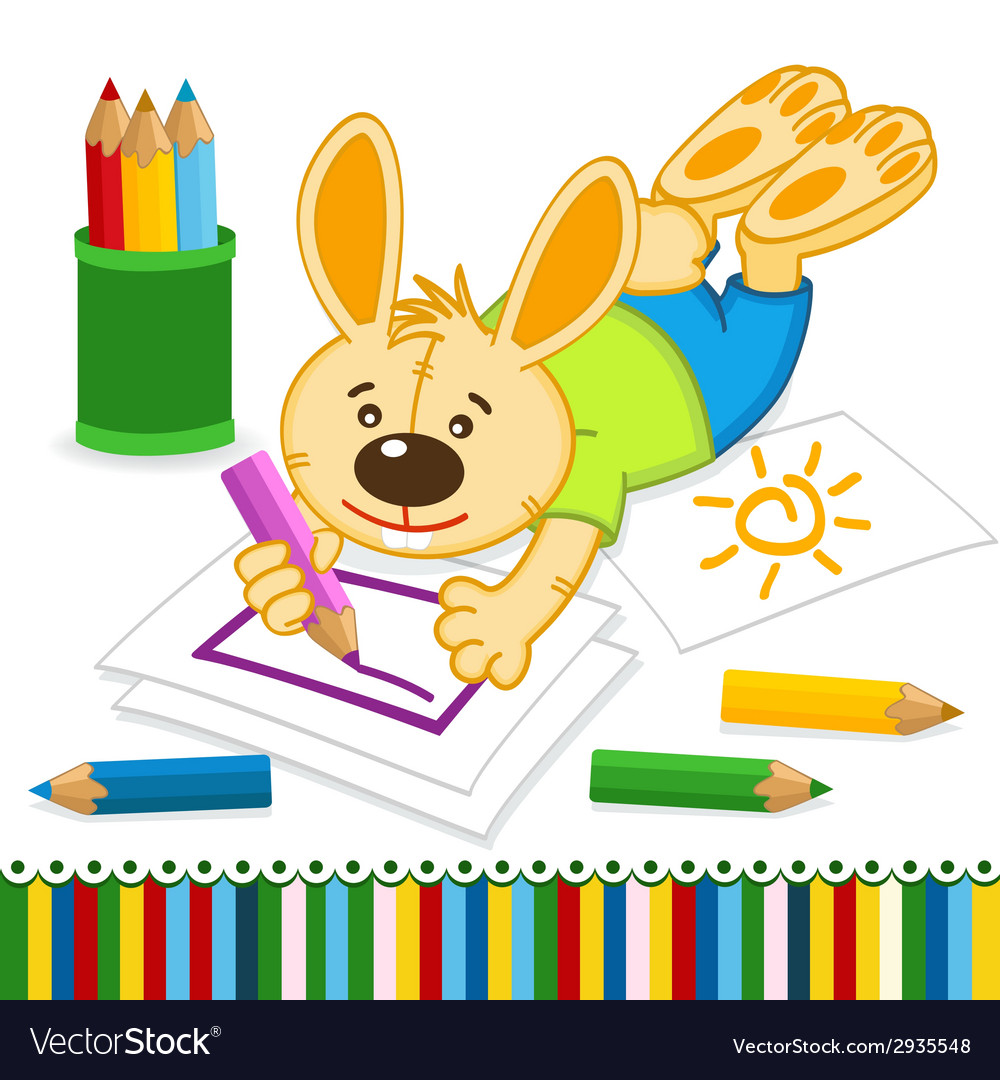 Rabbit drawing pencils vector