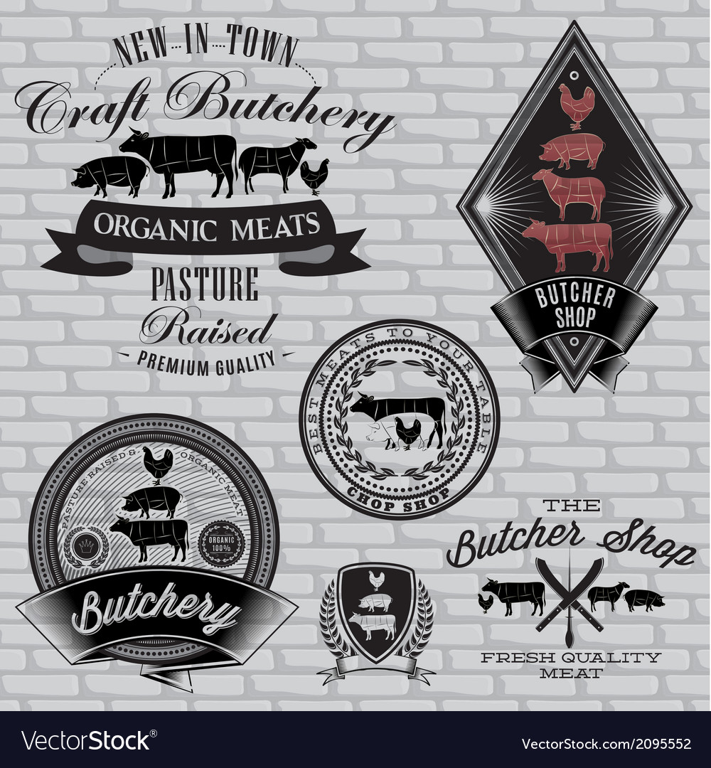Set of labels for butcher on a brick wall vector