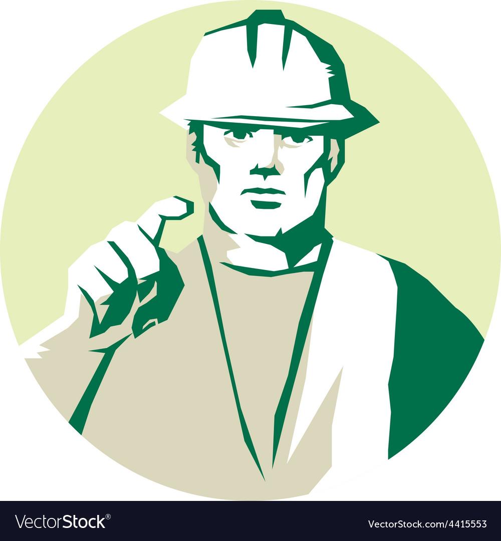 Builder construction worker pointing finger vector