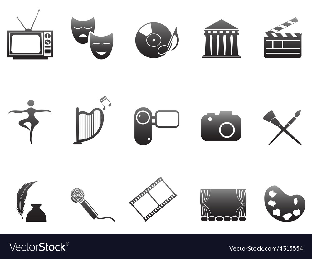 Culture and art icons set vector