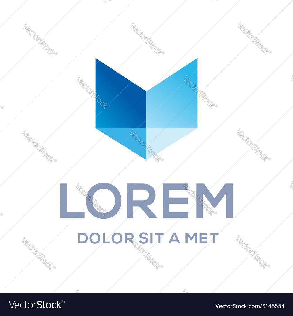 Letter m shield book logo icon design template vector