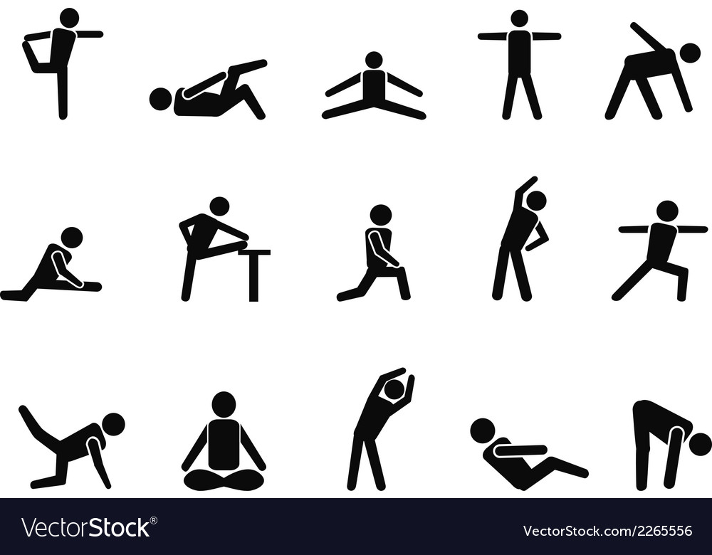 Exercise stretching icons vector