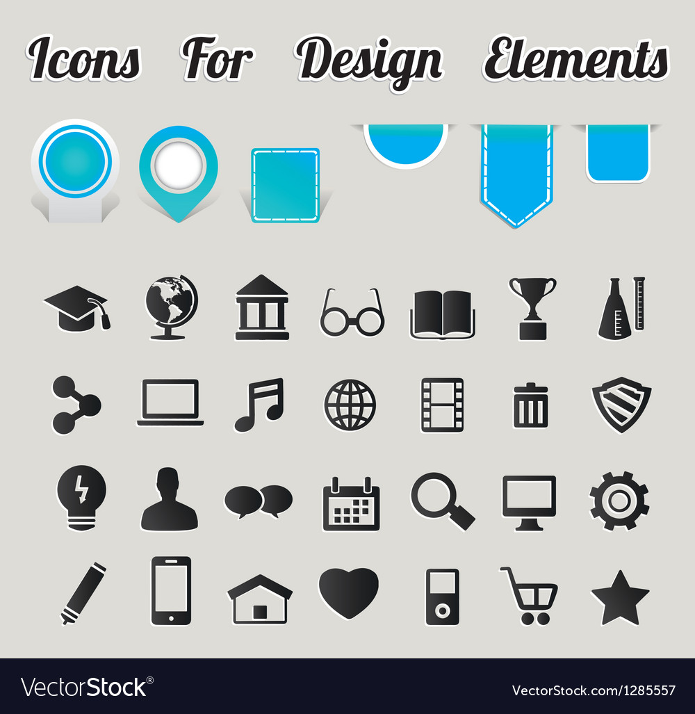 Icons for design elements vector