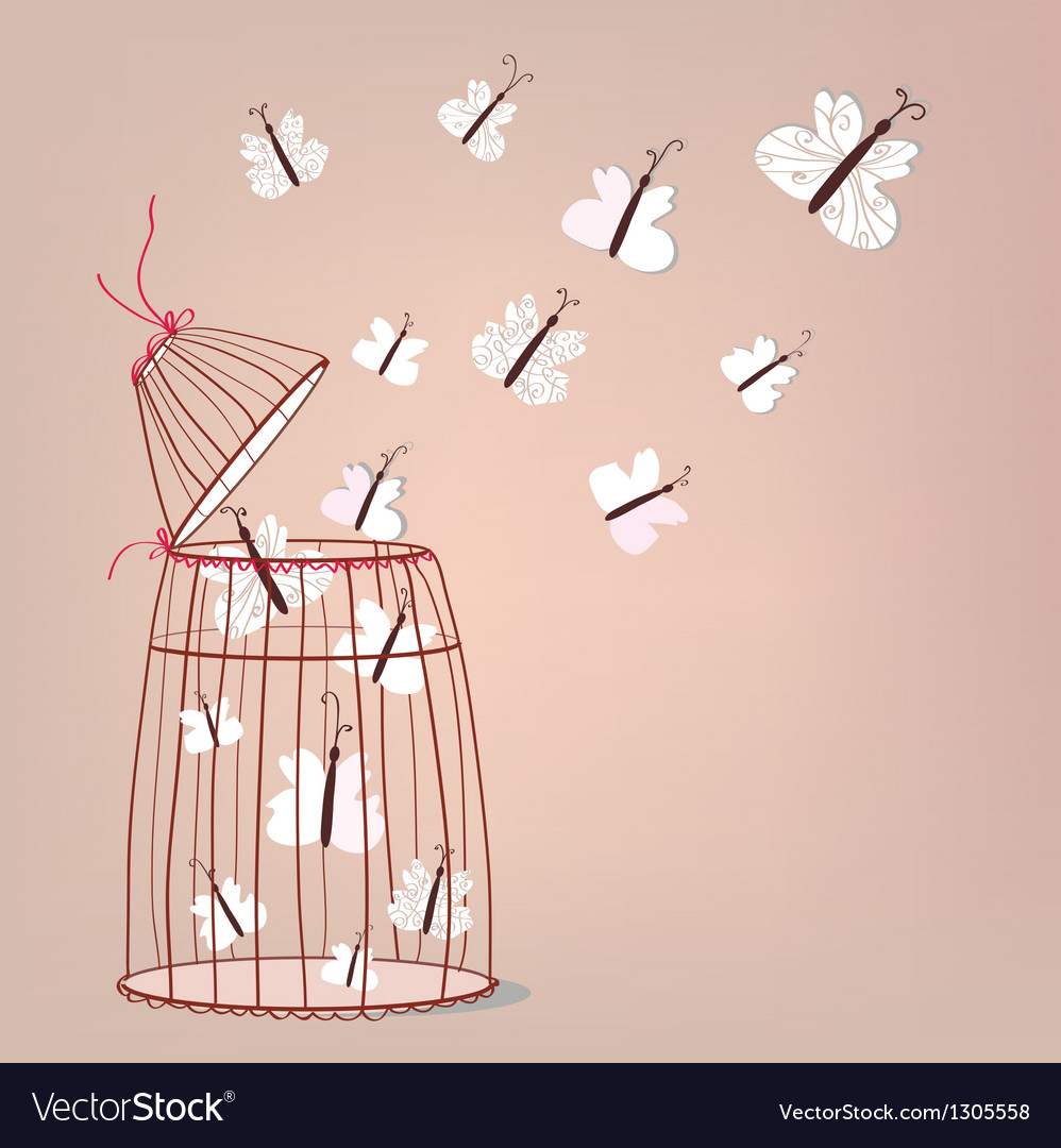 Freedom - cage and butterflies vector