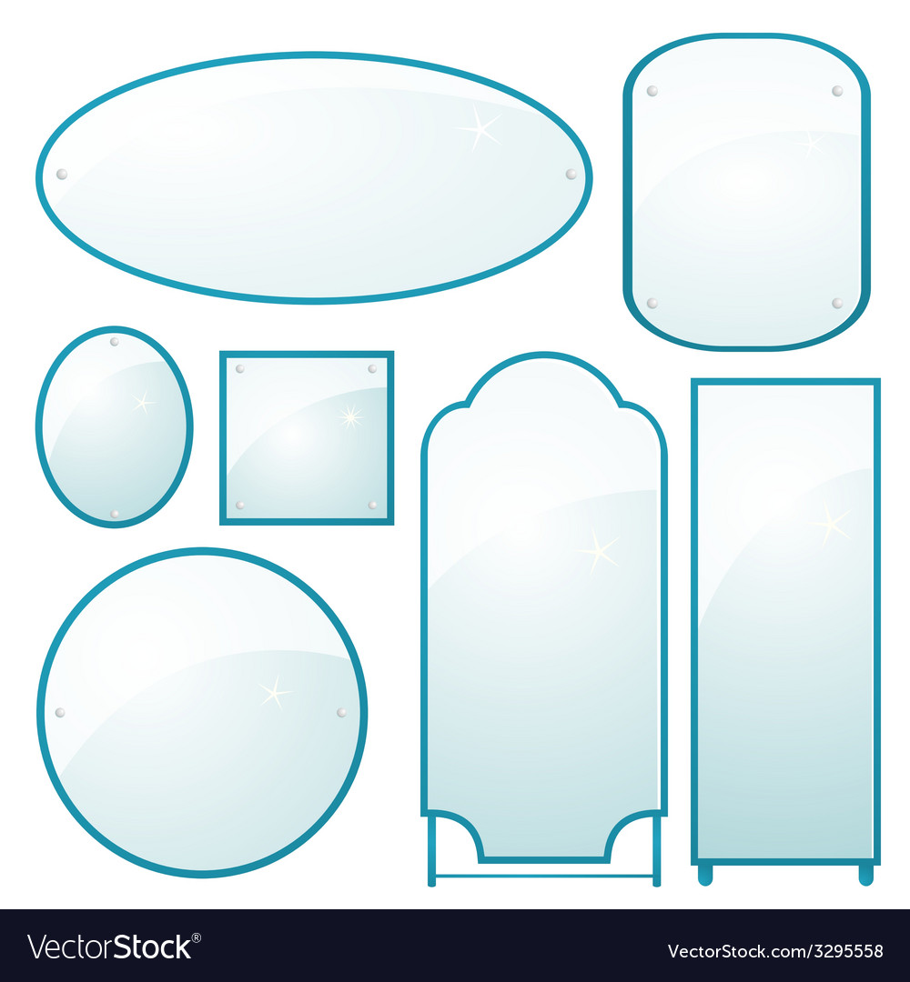 Set of mirrors of different shapes vector