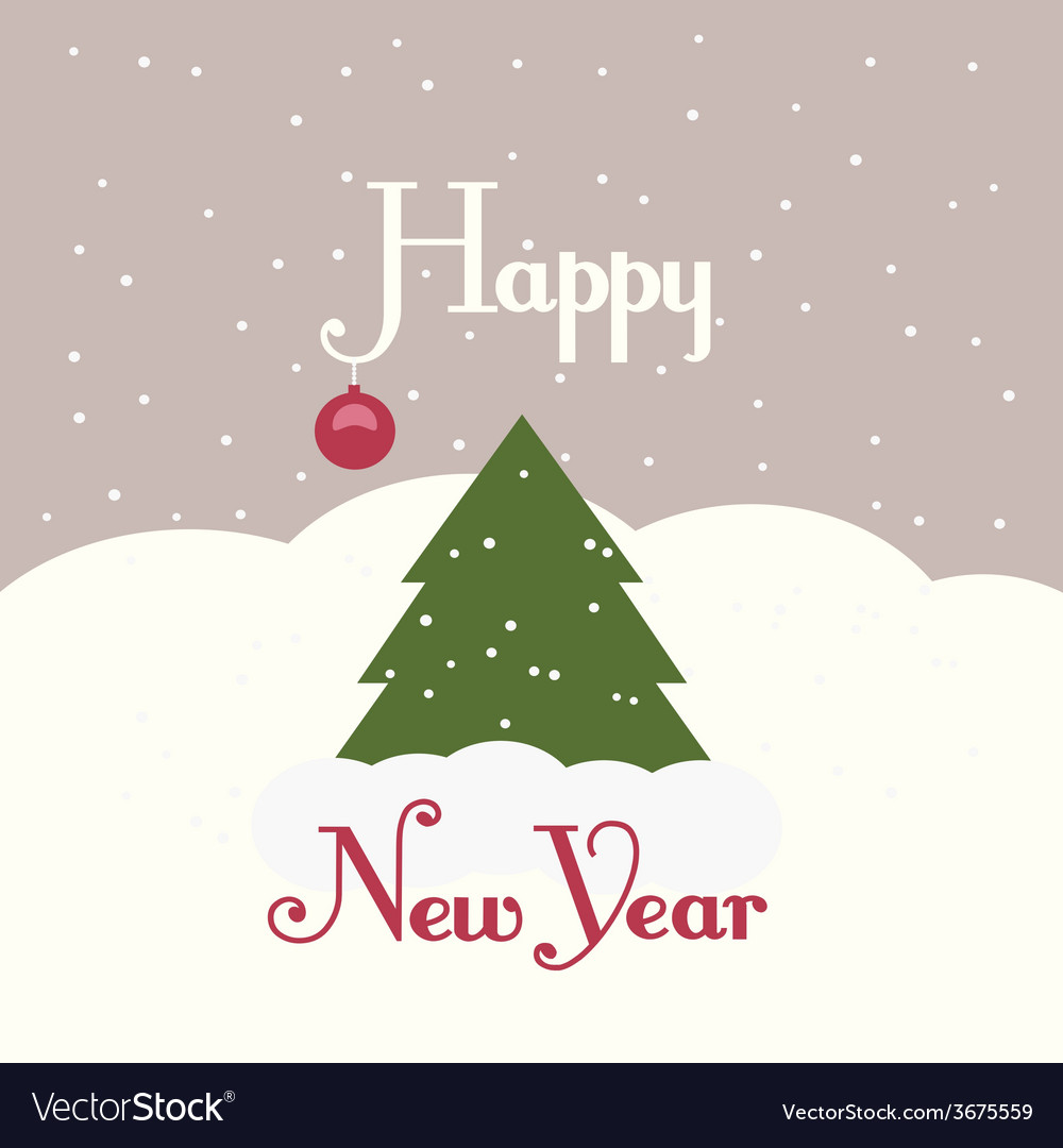 Greeting card with a picture of a christmas tree vector