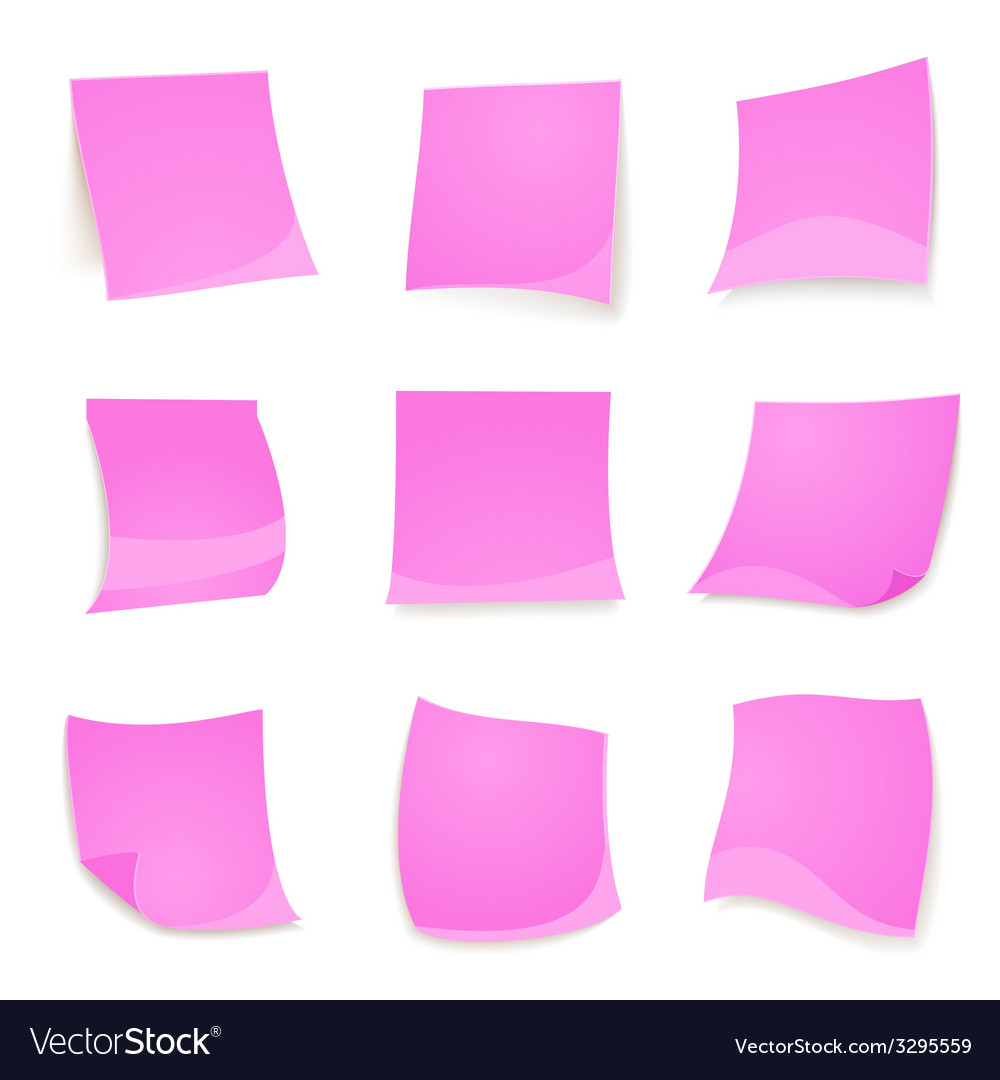 Pink stick note isolated on white background vector