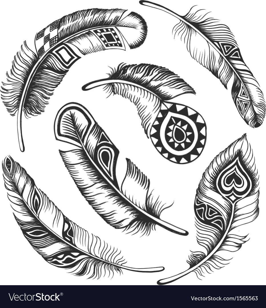 Black feather circle ornament vector