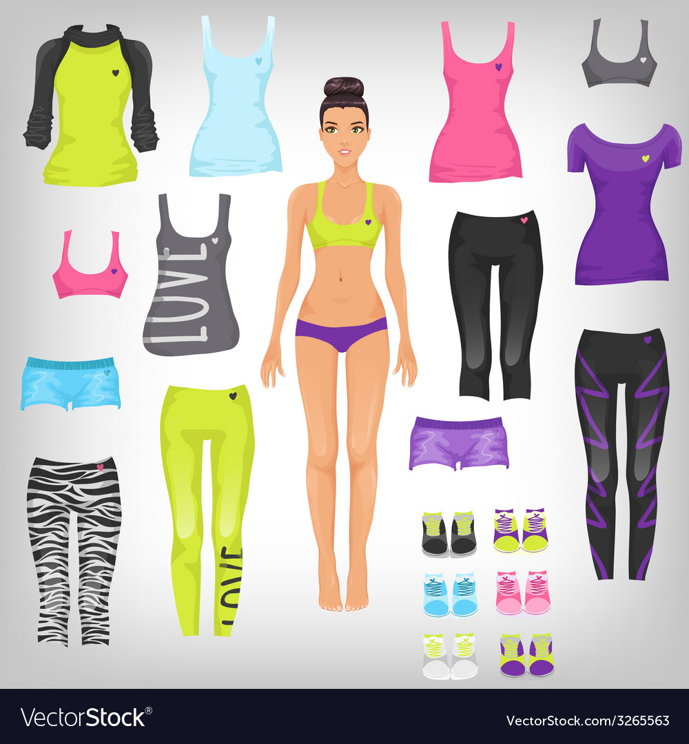 Dress up paper doll with an assortment of sports vector