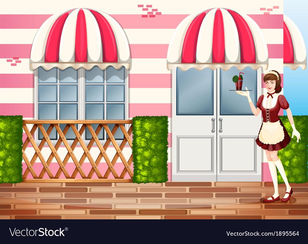 A waitress near the entrance door of the hospital vector