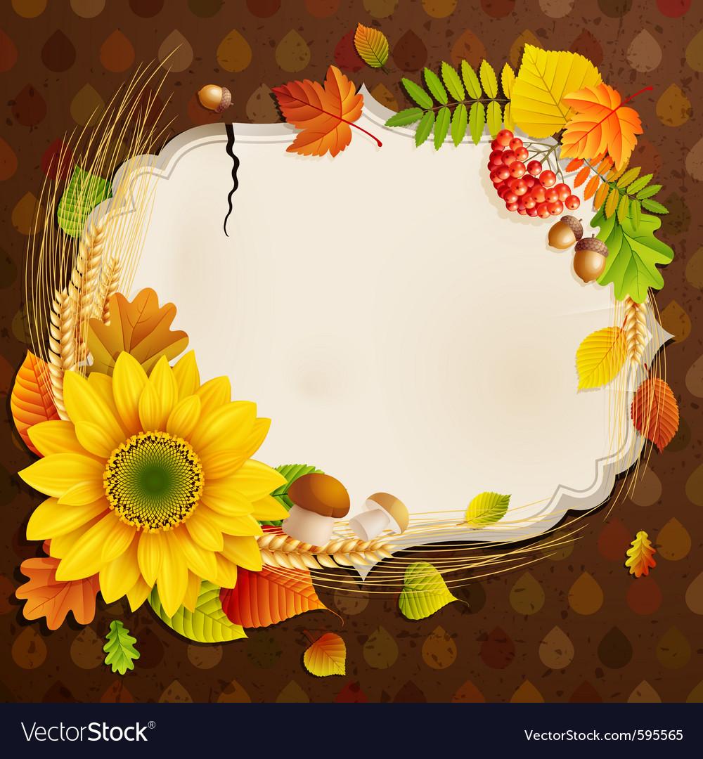 Autumn vintage greeting card vector