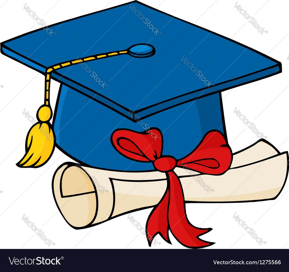 Graduate blue cap with diploma vector