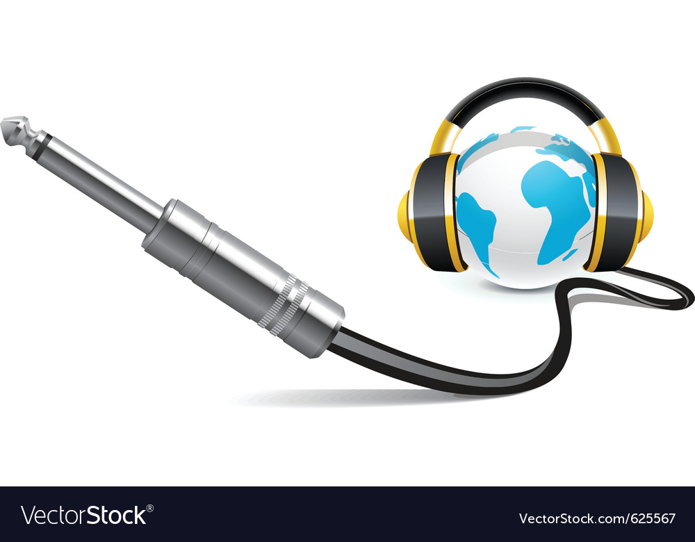 Globe with headphones vector