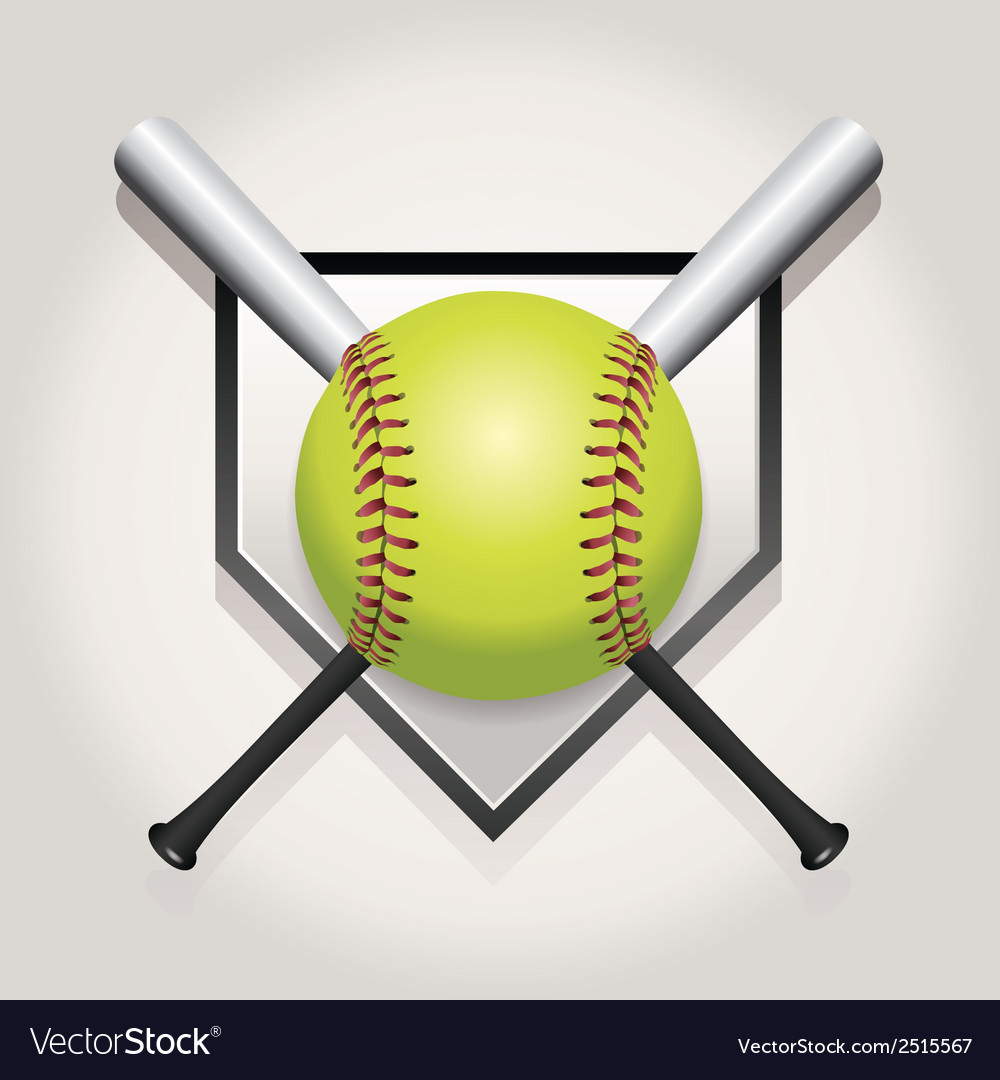 Softball bat plate vector
