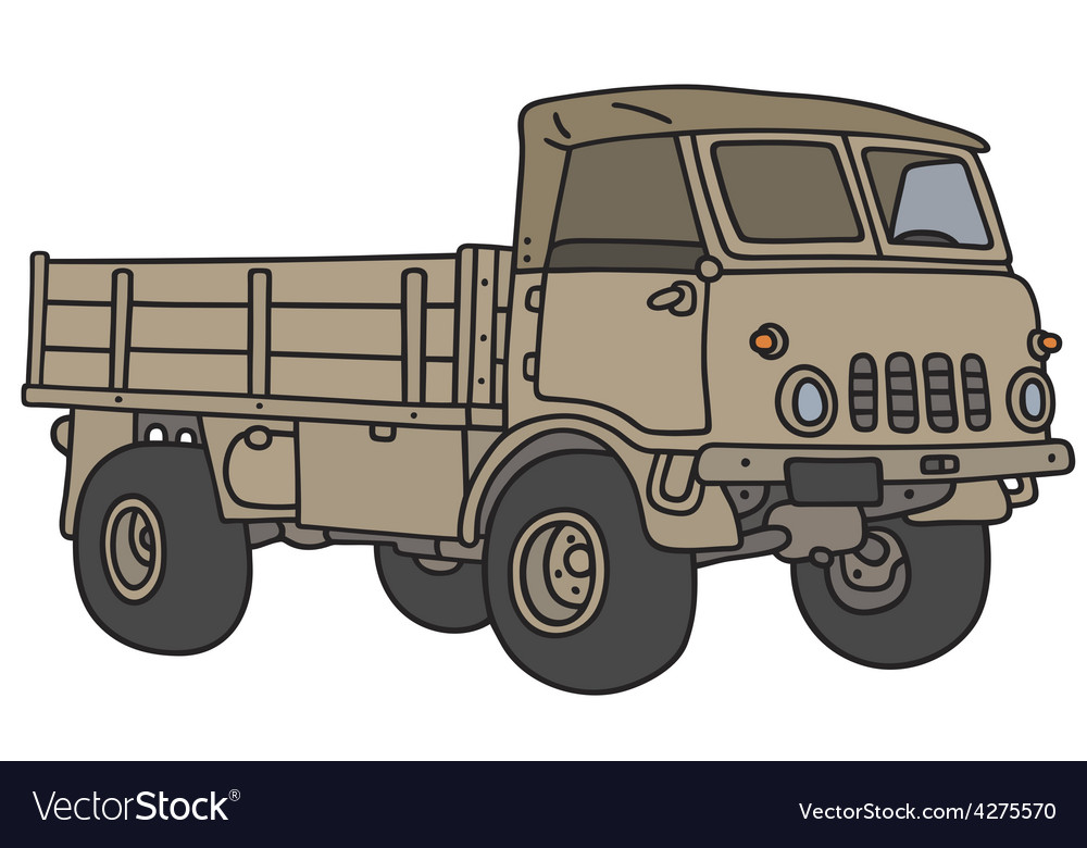 Old small military terrain truck vector