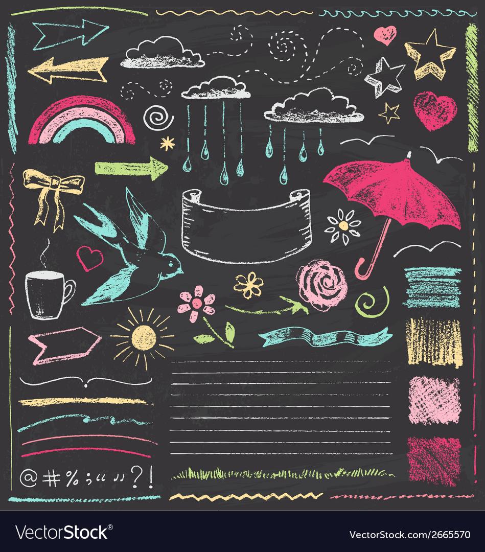 Vintage chalkboard design elements hand drawn set vector