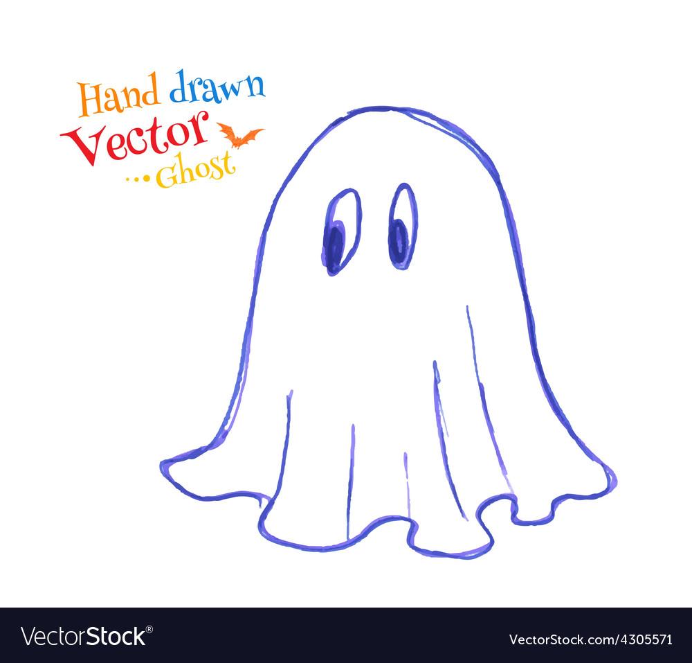 Felt pen childlike drawing of cute ghost vector