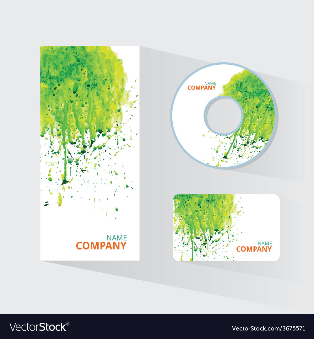 Watercolor corporate identity template with sketch vector