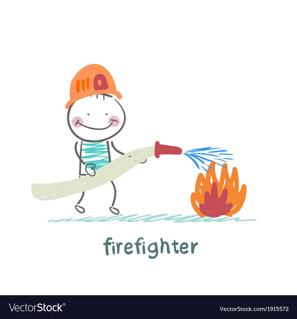 Firefighter puts out fire vector