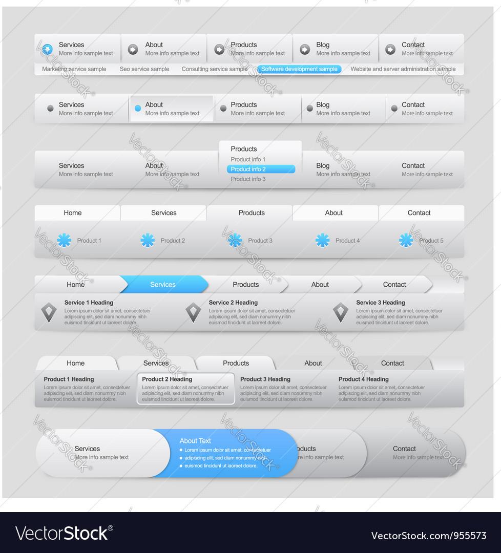 Web site menu navigation vector