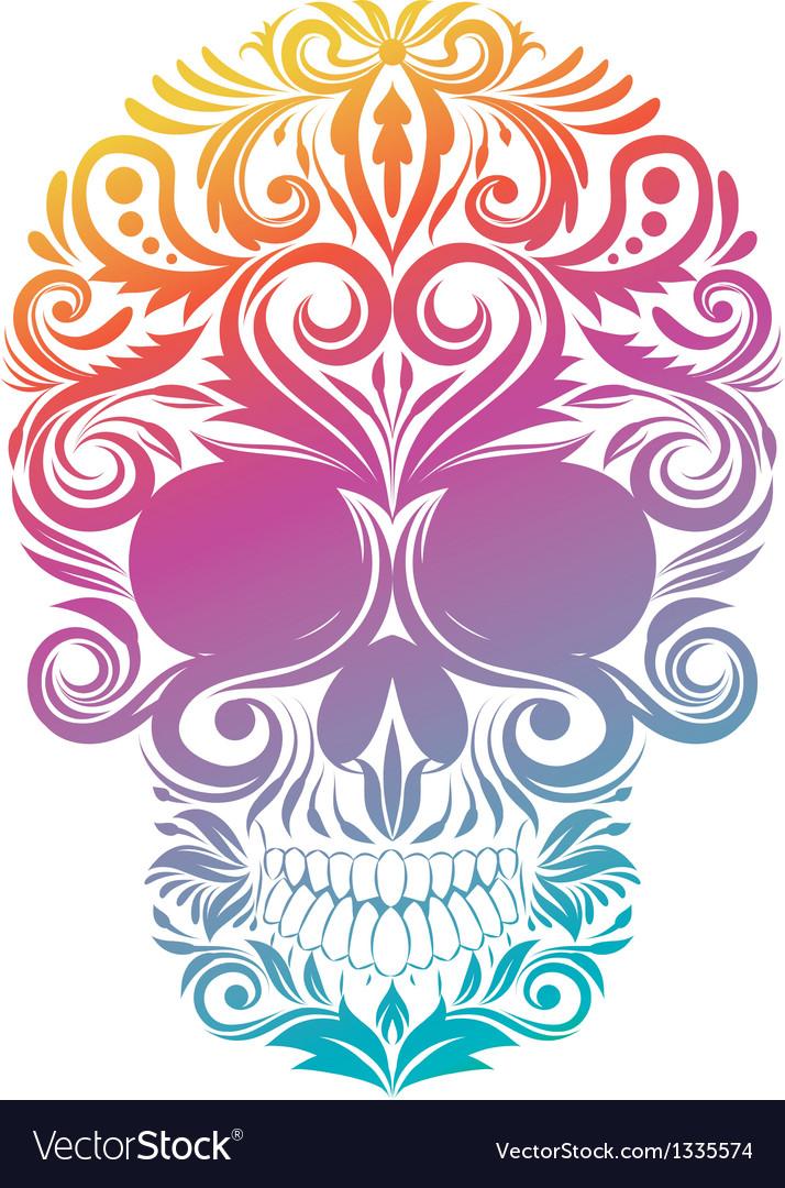 Floral decorative skull vector