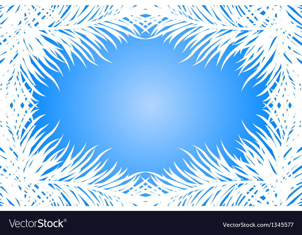 Blue frame with fir branches vector