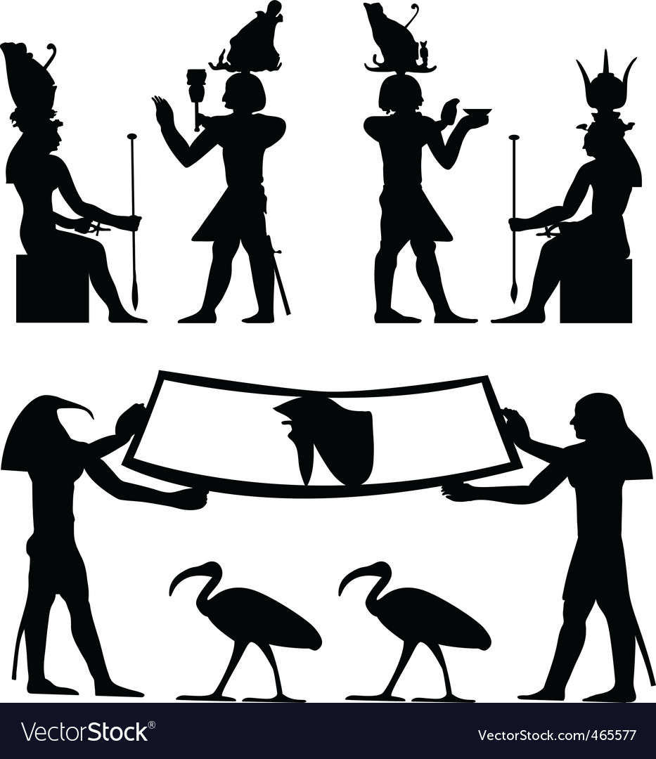 Egyptian hieroglyphs and fresco vector