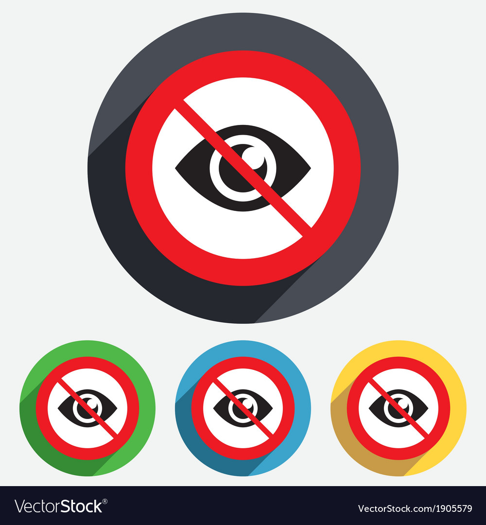 Do not look eye sign icon publish content vector