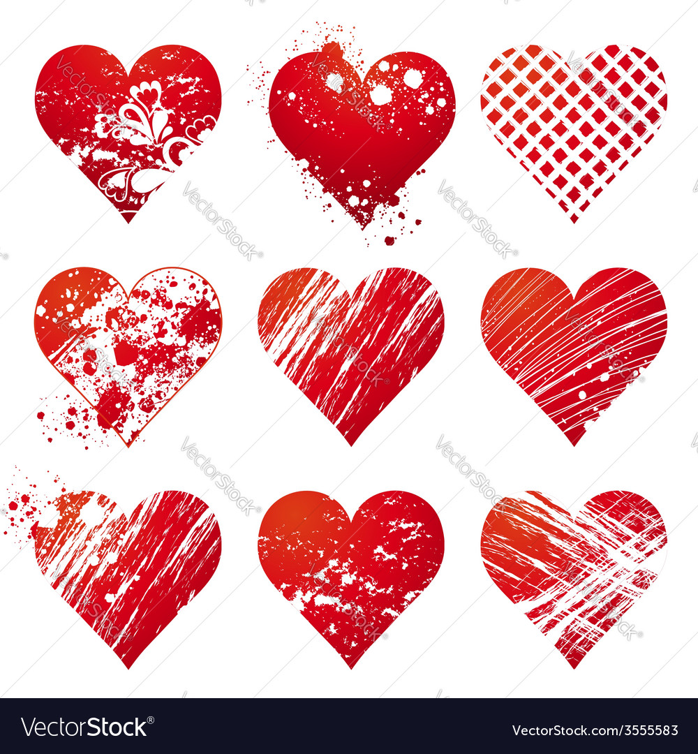 Nine lovely red heart vector