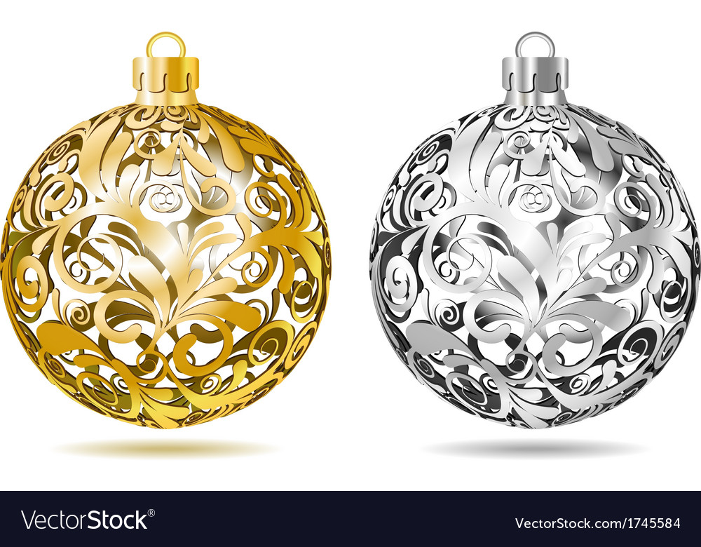 Gold and silver openwork christmas balls vector