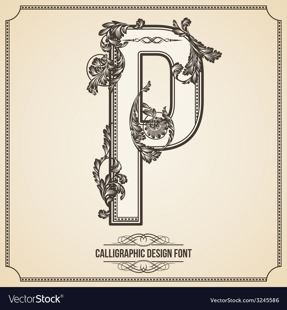 Calligraphic font letter p vector
