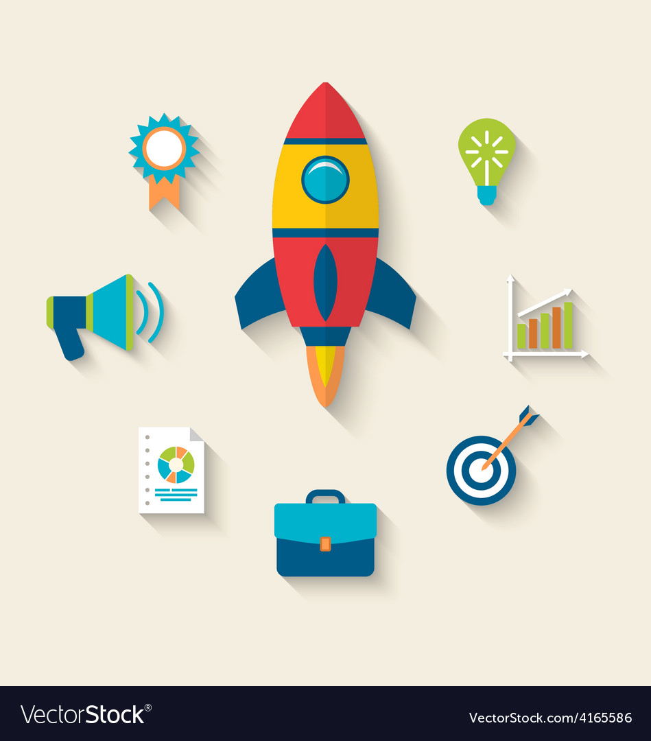Concept of launch a new innovation product on a vector