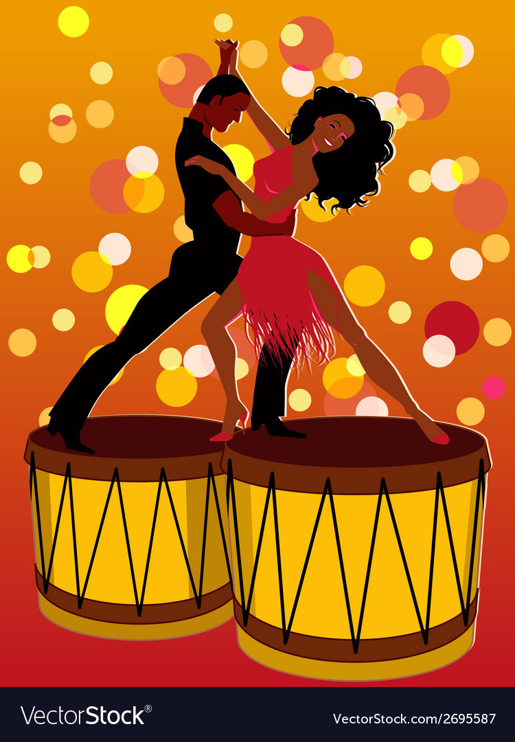 Latin couple dancing on bongos vector