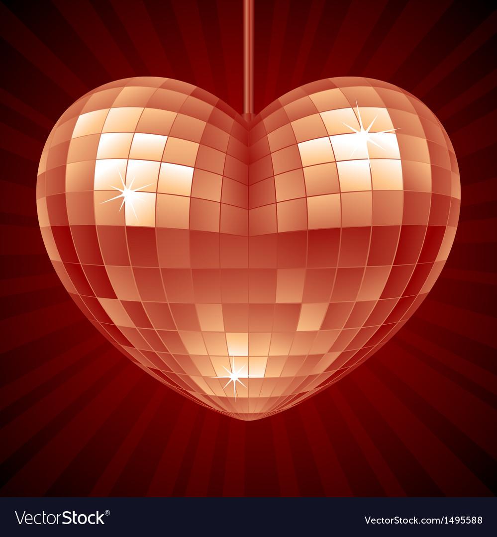 Disco heart red mirror disco ball vector
