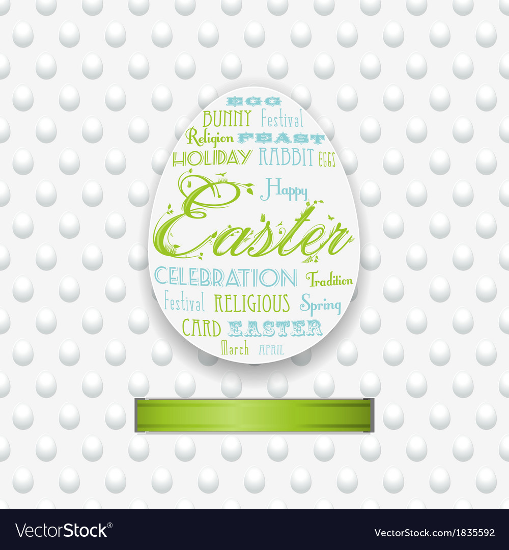 Easter typography background with ribbon vector