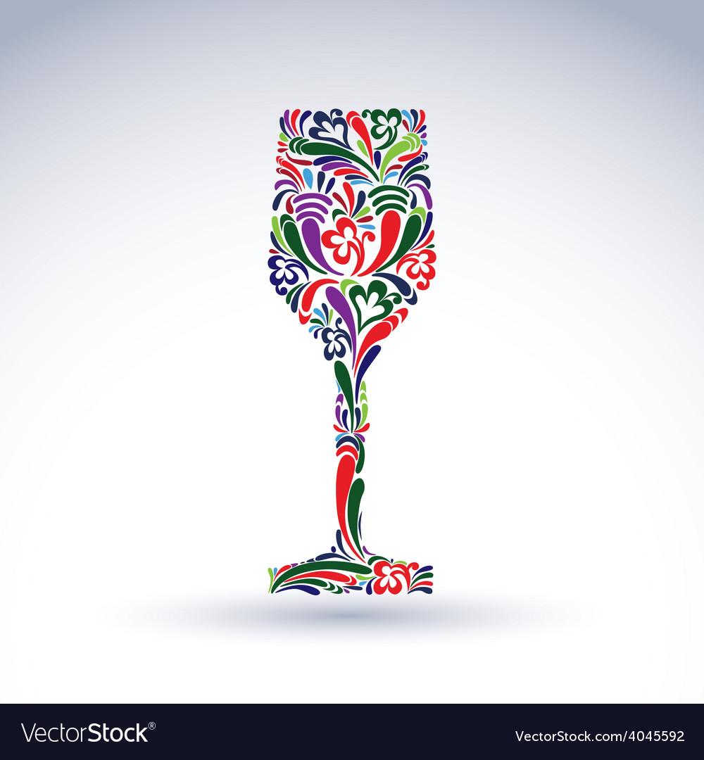 Fantasy decoration art design goblet with bright vector