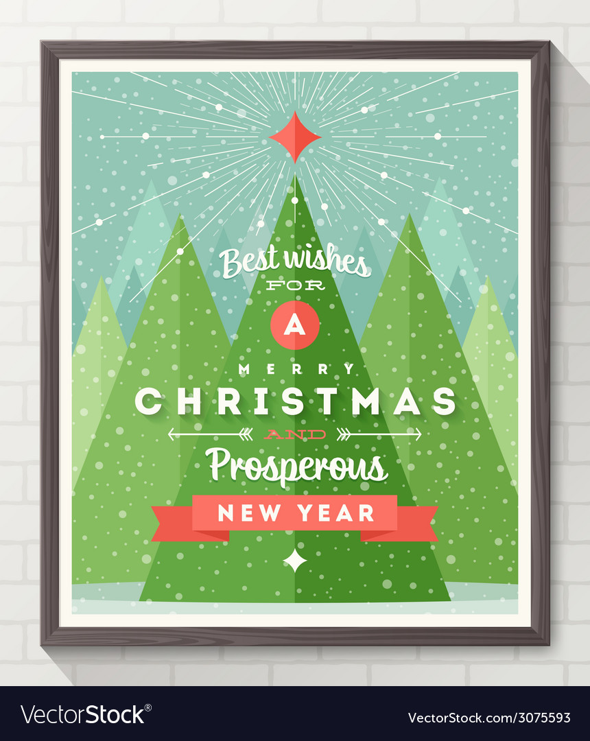 Wooden frame with flat and type christmas design vector