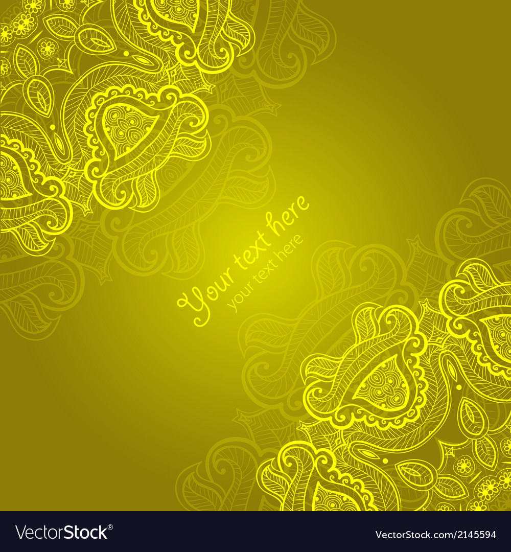 Greeting card with lace ornament vector