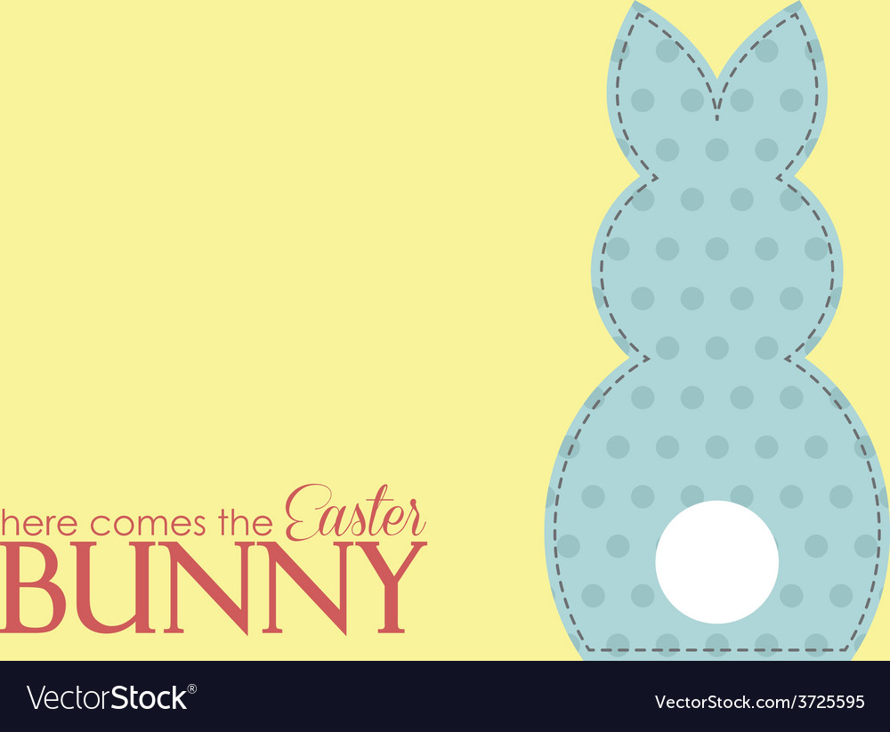 Single easter blue rabbit wording vector