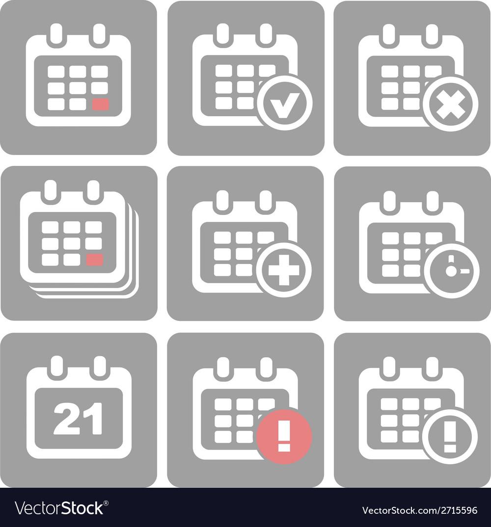 Calendar icons event add delete progress vector